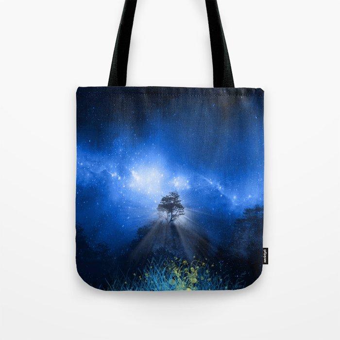 blue night landscape Tote Bag