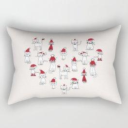 Cats in Christmas hats loveheart Rectangular Pillow