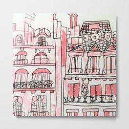 Pink Parisian Architecture Metal Print