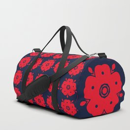 Japanese Samurai flower red pattern Duffle Bag