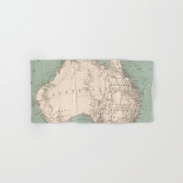 Vintage Topographic Map of Australia (1868) Hand & Bath Towel