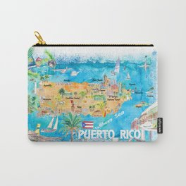 Puerto Rico Islands Illustrated Travel Map with Roads and Highlights Carry-All Pouch