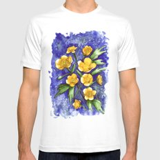 Marsh Marigolds White MEDIUM Mens Fitted Tee
