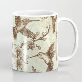 Sepia Hummingbird Pattern Coffee Mug