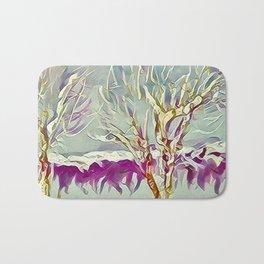 Winter Trees Purple Teal Gold Buffalo by CheyAnne Sexton Bath Mat