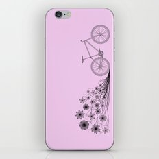 Cycling with flowers iPhone Skin