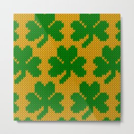 Shamrock pattern - orange, green Metal Print