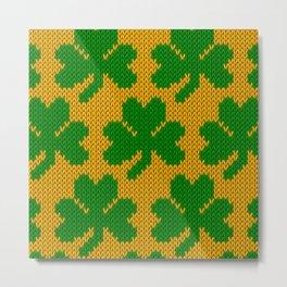 Shamrock pattern - orange, green Metal Print