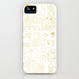 Mayan Glyphs - gold palette iPhone Case