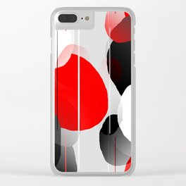 Modern Anxiety Abstract - Red, Black, Gray Clear iPhone Case