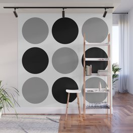 Mid Century Modern Polka Dot Pattern 9 Black and Gray Wall Mural
