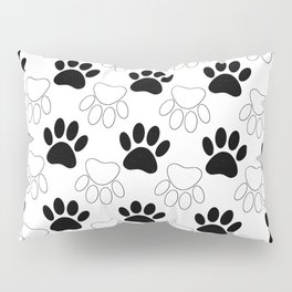 Black And White Dog Paw Print Pattern Pillow Sham