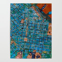 Odessa antique map, colorful mas, classic artwork Poster