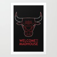 chicago bulls Art Prints featuring Madhouse Chicago Bulls by beejammerican