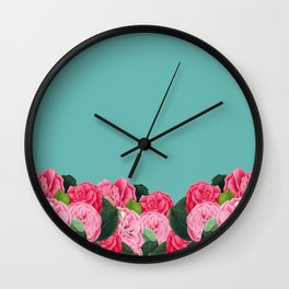Floral & Turquoise Wall Clock