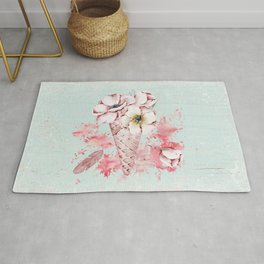 Pink & Teal Summer Fun Flower Ice Cream Waffle -Illustration Rug