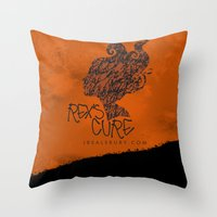 the cure Throw Pillows featuring Rex's Cure by JBSalsbury