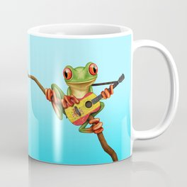 Tree Frog Playing Acoustic Guitar with Flag of Spain Coffee Mug