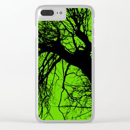 Trees green bg Clear iPhone Case