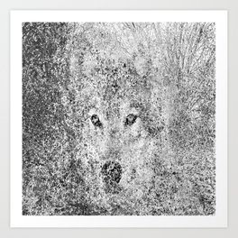 Wolf camouflaged with the forest Art Print