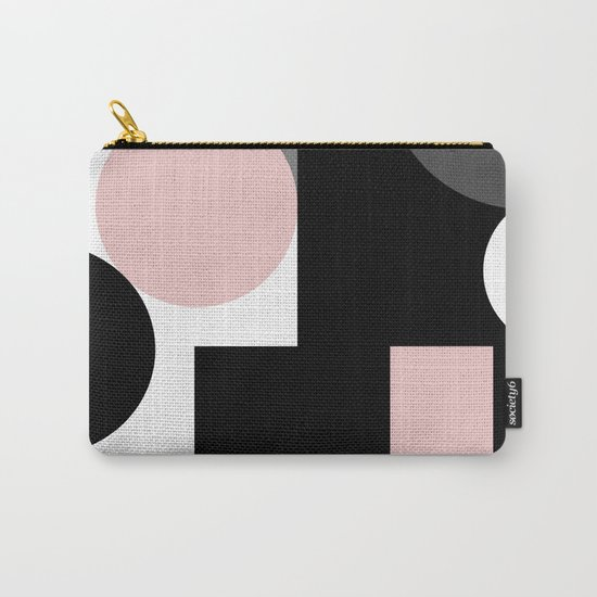 An abstract geometric pattern . Geometric shapes . Black pink white pattern . Carry-All Pouch