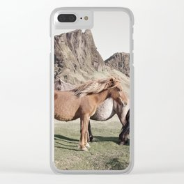 Rustic Horse Photograph in Mountains Clear iPhone Case