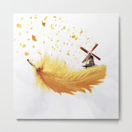 Air Feather • Yellow Feather (horizontal) Metal Print