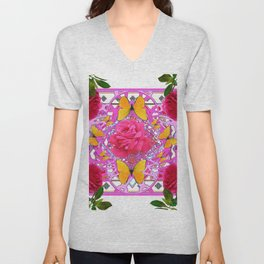 PINK ROSE FLOWERS  &  GOLDEN BUTTERFLIES GARDEN ART Unisex V-Neck