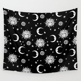 Linocut black and white sun moon and stars outer space zodiac astrology gifts Wall Tapestry