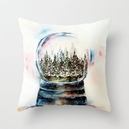 Snow globe - watercolour illustration Throw Pillow