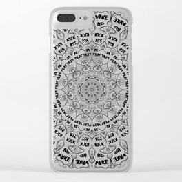 Mandala - Wake Up, Kick A**, Repeat.... Black and White Clear iPhone Case