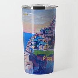 Retro Vintage Style Travel Poster Amazing Amalfi Coast At Sunset Travel Mug