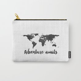 Printable Adventure Awaits World Map Poster, Navy Travel Quote Print, JPG File, Instant Download Carry-All Pouch