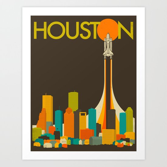 HOUSTON SKYLINE Art Print