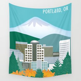 Portland, Oregon - Skyline Illustration by Loose Petals Wall Tapestry