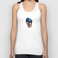 puerto rico Tank Tops featuring Puerto Rican Flag on a Raised Clenched Fist by Jeff Bartels