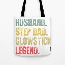 Funny Men Vintage T Shirt Husband Step Dad Glowstick Legend Tote Bag