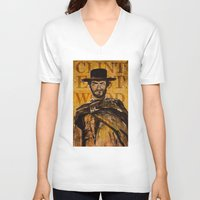 clint eastwood V-neck T-shirts featuring Clint Eastwood by Olga Ko
