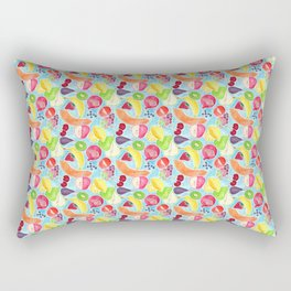Fruit Salad in Watercolors on Bright Blue Background Rectangular Pillow