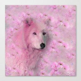 PINK WOLF FLOWER SPARKLE Canvas Print