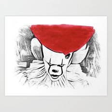 Pennywise Red Watercolor - IT Movie Art Print