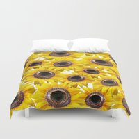 sunflowers Duvet Covers featuring Sunflowers by Regan's World