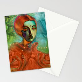 """""""Exotic woman in green and orange tropical jungle"""" Stationery Cards"""