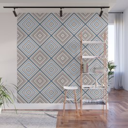 Modern Geometric Line Art Diamonds in Muted Classic Blues and Desert Oranges Wall Mural
