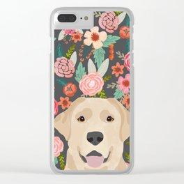 Yellow Lab dog portrait labrador retriever dog art pet friendly florals floral Clear iPhone Case