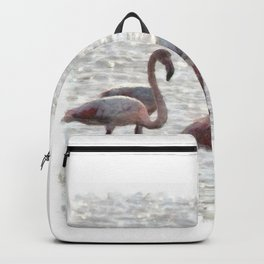 Three Flamingos Watercolor Backpack