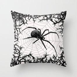 Briar Web- Black and White Throw Pillow
