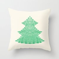 merry christmas Throw Pillows featuring Merry Christmas by Fimbis