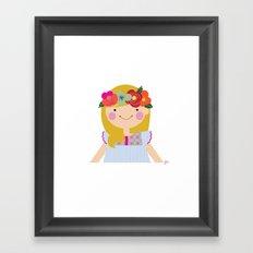 Flower crown girl Framed Art Print