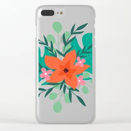 Tropical floral print Clear iPhone Case